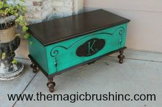 This chest had some cool detailing on the front of it.  I love mixing stain with paint, so I suggested to our client that we stain the top and bottom dark and add her last name initial to the bubble on the front.
