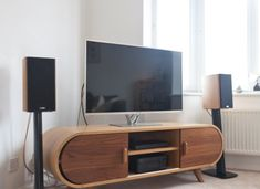 The Fonteyn Media Unit in oak and walnut is a stylish piece for any design-led living room.