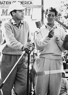 Jerry Lewis and Dean Martin performing on stage during a California PGA charity golf tournament in February 1953 @ the Fox Hills Golf Club; - they were playing vs. Bob Hope & Bing Crosby, two renown golfers, won the match.