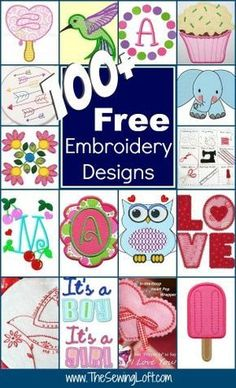 Keep your creative juices flowing with over 100 free embroidery designs rounded up in one place. Everything from hand embroidery to machine applique.