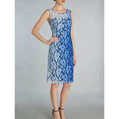 Buy Gina Bacconi Ombre Stretch Lace Ruched Dress, Blue Online at johnlewis.com