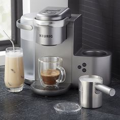 Shop Keurig K-Cafe. Your one-stop-shop for coffeehouse drinks, this new single-serve coffee maker from Keurig effortlessly delivers barista-worthy coffee, lattes and cappuccinos. Coffee Pods, Coffee Latte, Best Coffee, Coffee Shop, Coffee Beans, Cappuccino Maker, Espresso Maker, Reusable Coffee Filter, Coffee Canister