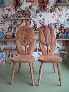 Carved Wood Chairs: Monsieur Tulipe and Madame Marguerite by Natalie Leit