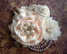Vintage inspired light peach and ivory satin and lace clip,birdcage netting,bridal clip, flower girl clip, vintage clip, ivory flower clip