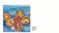 Granadas  Pommegranate Watercolor acuarela 2016