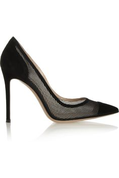 Gianvito Rossi|Suede and mesh pumps|NET-A-PORTER.COM if there is one shoe brand that's highly addictive, it's Gianvito Rossi!!!!