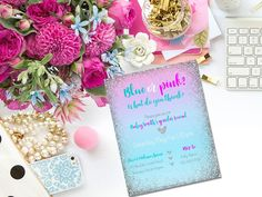PRINTABLE gender reveal invitation/ blue or pink invitation / he or she what will it be invitation / baby reveal invitation / reveal invite by PrettyPrintablesInk on Etsy