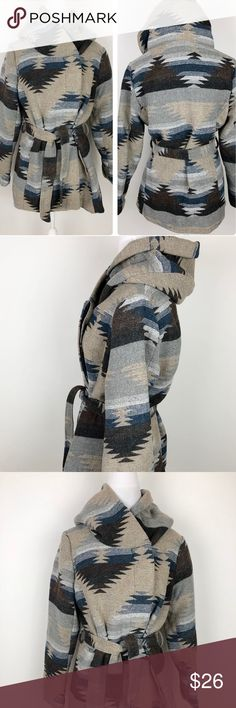 """Mossimo Winter Jacket Size XL Aztec Print Gray Mossimo Winter Jacket Gray & Blue Aztec Print Womens Size XL  Belted, Hood  Pit to Pit: 22""""  Length: 27""""  Condition: Excellent pre-owned condition. Mossimo Supply Co Jackets & Coats Pea Coats"""
