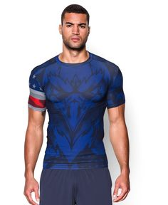 Under Armour Men's UA Freedom USA Short Sleeve Compression Shirt Large Midnight Navy