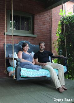 Just look at this gorgeous porch swing, made from repurposed wood!