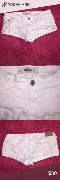White Distressed Hollister Shorts Super cute White Hollister Shorts size 27! They are distressed frayed cuff style! Only worn once, but they could use an ironing other than that they are in perfect condition no stains! Hollister Shorts Jean Shorts