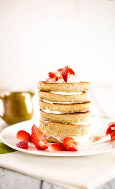 Banana- Coconut Flour Pancakes. Use Arbonne protein powder for a healthy and filling start to the day!