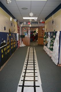 Train tracks in the hallway for Polar Express Day