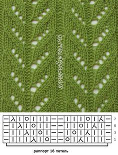 узор спицами 262 простой ажурный узор | каталог вязаных спицами…
