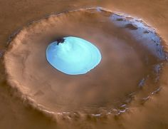 The Mars Express took this photo of a crater on Mars filled with water and ice.