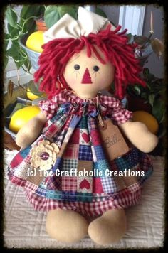 * Primitive Raggedy ANN ~ COUNTRY doll ~ PATCHWORK apron * FLOWER * Ball jar TAG #NaivePrimitive