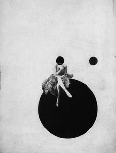 """László Moholy-Nagy: The Olly and Dolly sisters, around 1925 """" A floating circle, a common motif in László Moholy-Nagy's work, is a dominant, repeated form in this composition: one superimposed over the face of a human figure, a second substituting..."""