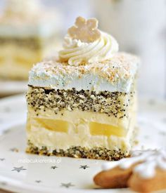 "Ciasto Makowe ""Gwiazdka"" z Kokosem i Ananasem - Sweet Desserts, No Bake Desserts, Sweet Recipes, Baking Recipes, Cake Recipes, Dessert Recipes, Sweets Cake, Cupcake Cakes, Potica Bread Recipe"