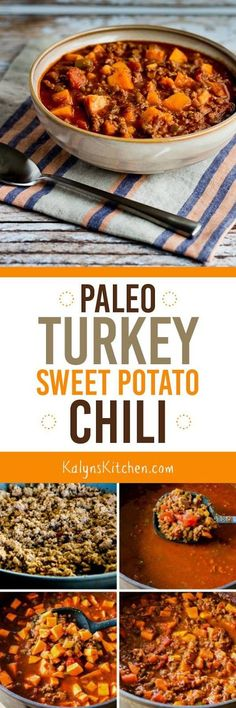 Paleo Turkey Sweet Potato Chili found on KalynsKitchen.com