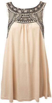 Nude Tribal Embellished Tunic - Miss Selfridge
