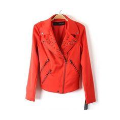 Red Long Sleeve Rivet Big Lapel Full Zip Jacket ($53) via Polyvore
