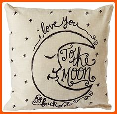 "CoolDream I Love You to the Moon and Back Cotton Throw Pillow Case Vintage Cushion Cover 18"" x 18"" - Fun stuff and gift ideas (*Amazon Partner-Link)"