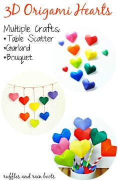 Click here to make Origami Hearts into garlands, bouquets, and table decor!