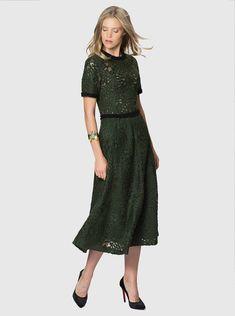 6c45b0d8772d3 Roman Detaylı Yeşil Kadın Elbise Dresses For Work, Cold Shoulder Dress,  Roman, Fashion