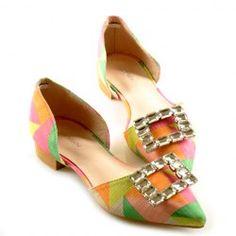Stylish Color Block and Rhinestones Design Women's Flat Shoes