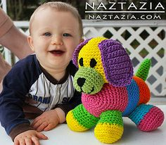 Crochet colorful amigurumi dog toy for baby by naztazia,