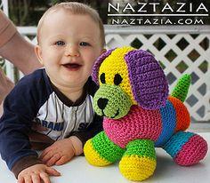 Crochet colorful amigurumi dog toy for baby by naztazia,