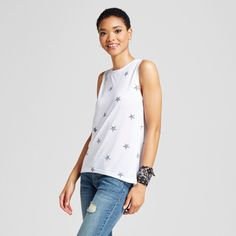 Women's Star Print Graphic Tank Top White Xxl - Modern Lux (Juniors')