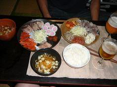 mix of everything- naruto, kimchi, halusky, sashimi, ...