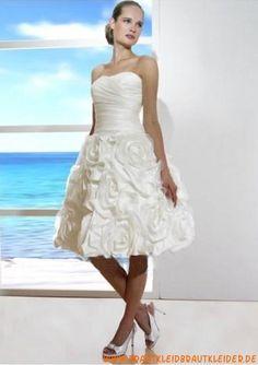 Günstiges Brautkleid aus Satin kurz A-Linie online