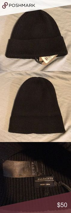 NWT All Saints Beanie NWT/ brand new/black/ 100% cotton/ can be worn folded or unfolded/ unisex All Saints Accessories Hats