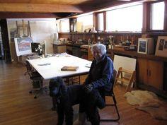 Martyl Langsdorf and her dog, Xander, in her art studio