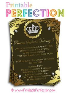 Birthday Party Invitation - Gold and Brown Princess - Diamonds - Crown