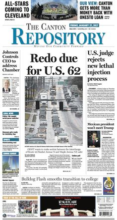The front page of The Canton Repository for January 27, 2017. Read more at cantonrep.com