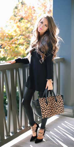 faux leather leggings, lace-up heels, leopard handbag, oversized sweater. fall inspo