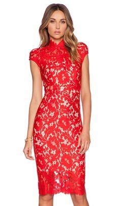 Lover Warrior Lace Midi Dress in Rose | REVOLVE