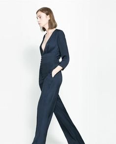 Image 3 of LONG JUMPSUIT WITH LOW NECKLINE from Zara