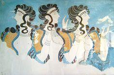 Afresco Rainhas de Cnossos, Cnossos.- Knossos fresco women - Civilização Minoica