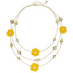 Yellow Flower Beaded Multi Strand Necklace