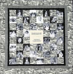 LOVE this black and white themed photo quilt in block design