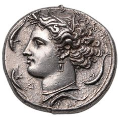 Ancient Greek Silver Dekadrachm Coin by Euainetos of Syracuse, 400 BC 1
