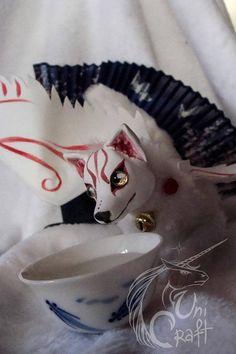 FOR SALE White Fox Inari japanese goddess OOAK poseable art