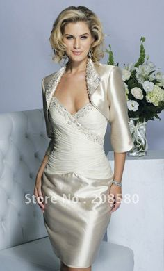 2014 Sexy champagne v-neck beaded sheath short mother of the bride dresses knee-length with jacket $123.61