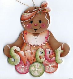 GINGERBREAD Sweet - Based on a Jamie Mills-Price design... handpainted by Pamela House