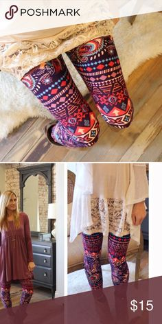 24hr SalePaisley Mixed Print Legging Gorgeous mixed print paisley leggings are both soft and stretchy for added comfort. 92% polyester and 8% spandex. Price is firm unless bundled where discounts will apply. Bellamisu Boutique Pants Leggings