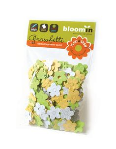 Confetti with embedded seeds for flowers